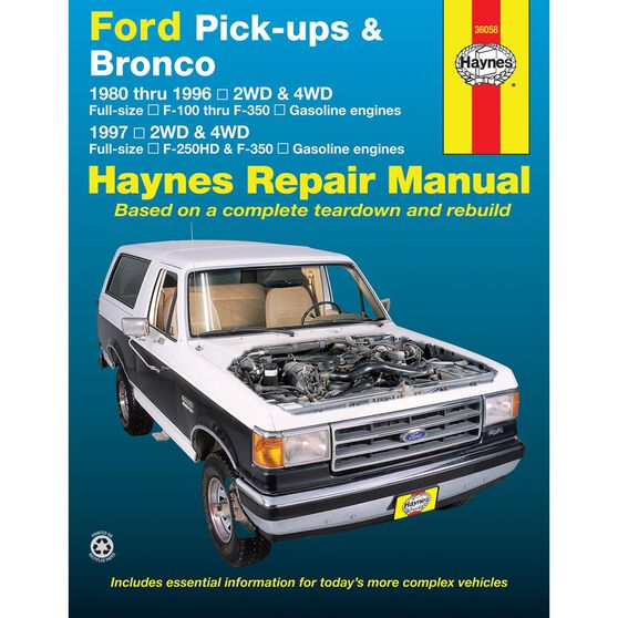 FORD PICK-UPS AND BRONCO HAYNES REPAIR MANUAL COVERING FORD FULL-SIZE PICK-UPS F-100 THRU F-350 AND BRONCO FOR 1980 THRU 1996 AND 1997 F-250HD AND F-350 (GASOLINE ENGINES ONLY), , scaau_hi-res