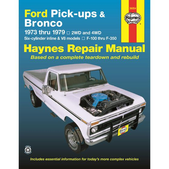 FORD PICK-UPS AND BRONCO HAYNES REPAIR MANUAL COVERING ALL FORD FULL-SIZE PICK-UPS F-100 THRU F-350 AND FORD BRONCO FOR YEARS 1973 THRU 1979, , scaau_hi-res