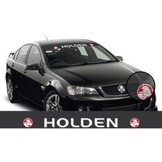 HOLDEN ITAG SEE-THRU SUN VISOR (WHITE HOLDEN ON BLACK WITH RED RONDELS)