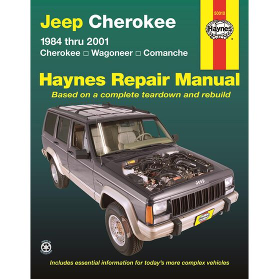 JEEP CHEROKEE HAYNES REPAIR MANUAL COVERING JEEP CHEROKEE, COMANCHE & WAGONEER LIMITED, 2WD AND 4WD, GASOLINE ENGINES (1984 THRU 2001) (DOES NOT INCLUDE GRAND WAGONEER OR DIESEL ENGINE INFORMATION), , scaau_hi-res