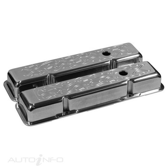 R/COVER ALLOY FLAMED SHORT S/B CHEV, , scaau_hi-res
