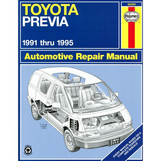 TOYOTA PREVIA HAYNES REPAIR MANUAL FOR 1991 THRU 1995 (EXCLUDES ALL-WHEEL DRIVE AND SUPERCHARGED ENGINE INFORMATION), , scaau_hi-res