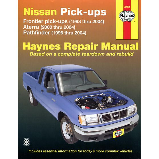 NISSAN FRONTIER, XTERRA & PATHFINDER HAYNES REPAIR MANUAL FOR 1996 THRU 2004 COVERING FRONTIER PICK-UP (1998 THRU 2004), XTERRA (2000 AND 2004) AND PATHFINDER (1996 THRU 2004) (DOES NOT INCLUDE INFORMATION ON SUPERCHARGED ENGINE MODELS), , scaau_hi-res