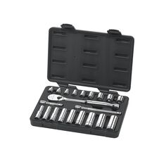 "SOCKET SET 3/8"" DRIVE STANDARD & DEEP 6PT & 12PT BLOWMOLD CASE SAE 21PC"