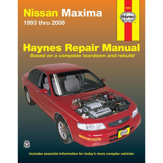 NISSAN MAXIMA HAYNES REPAIR MANUAL FOR 1993 THRU 2008 MODELS (DOES NOT INCLUDE INFORMATION SPECIFIC TO DUAL OVERHEAD CAM (DOHC) ENGINE IN 1993 & 1994 SE MODELS), , scaau_hi-res