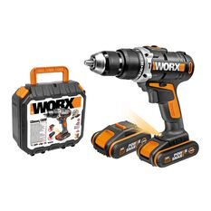 WORX 20V MAX CORDLESS HAMMER DRIVER / DRILL KIT  WITH 2X POWERSHARE BATTERIES, CHARGER & CARRY CASE, , scaau_hi-res