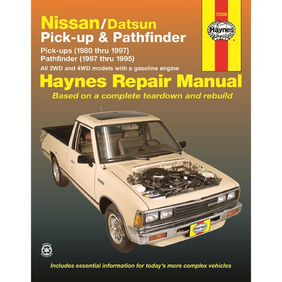 NISSAN/DATSUN PICK-UP AND PATHFINDER HAYNES REPAIR MANUAL FOR 1980 THRU 1997 COVERING 2WD AND 4WD MODELS WITH GASOLINE ENGINES PICK-UP (1980 THRU 1997) PATHFINDER (1987 THRU 1995), , scaau_hi-res