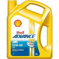 4 X SHELL ADVANCE 4T AX5 15W50 4L, , scaau_hi-res