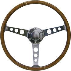 "Steering Wheel Wood 15"" Classic Polished Alloy Holes + Rivet, , scaau_hi-res"