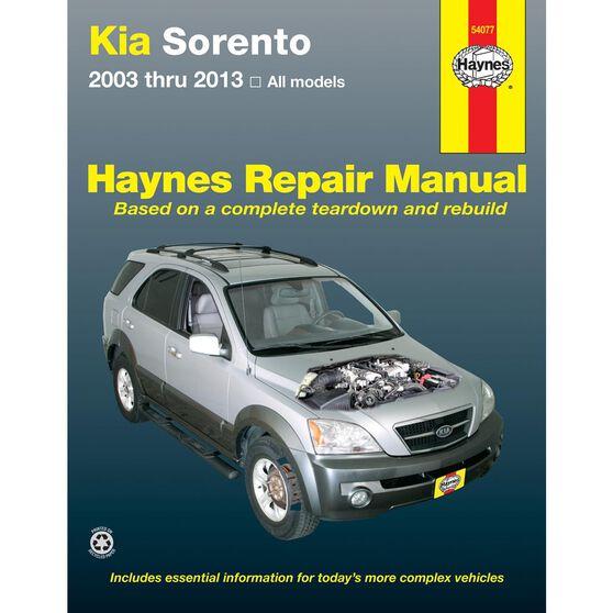 KIA SORENTO HAYNES REPAIR MANUAL FOR ALL MODELS 2003 THRU 2013, , scaau_hi-res