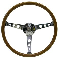 "Steering Wheel Wood 15"" Classic Chrome With Holes, , scaau_hi-res"