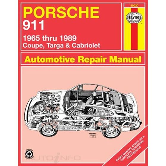 PORSCHE 911 HAYNES REPAIR MANUAL FOR 1965 THRU 1989 COVERING ALL COUPE, TARGA & CABRIOLET MODELS (EXCEPT TURBO)