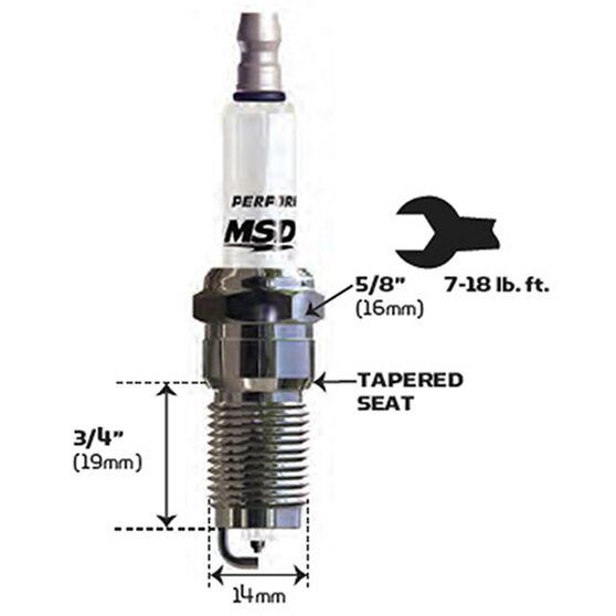 MSD SPARK PLUG, 2IR5L (EACH) 14MM X 3/4, 5/8 HEX, TAPERED, , scaau_hi-res