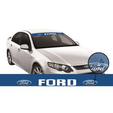 FORD ITAG SEE-THRU SUN VISOR (WHITE FORD BLOCK ON BLUE)