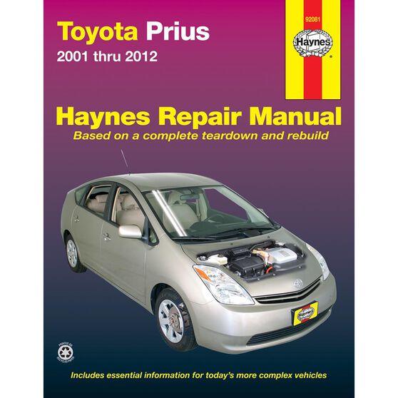 TOYOTA PRIUS HAYNES REPAIR MANUAL COVERING 2001 THRU 2012 MODELS (DOES NOT INCLUDE INFORMATION SPECIFIC TO PRIUS C, V OR PLUG-IN MODELS), , scaau_hi-res