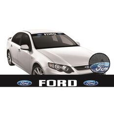 FORDITAG SEE-THRU SUN VISOR (WHITE FORD BLOCK ON BLACK)