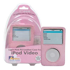 PINK PU LEATHER CASE TO SUIT 30/60GB IPOD VIDEO, , scaau_hi-res
