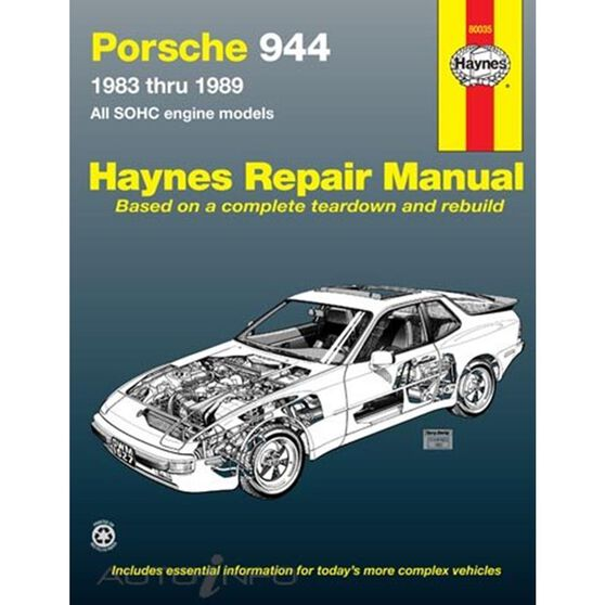 PORSCHE 944 HAYNES REPAIR MANUAL FOR 1983 THRU 1989 COVERING 4-CYLINDER ENGINE INCLUDING TURBO (DOES NOT INCLUDE 944S MODEL), , scaau_hi-res