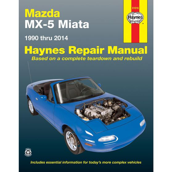 MAZDA MX-5 MIATA HAYNES REPAIR MANUAL COVERING ALL MAZDA MX-5 MIATA MODELS FOR 1990 THRU 2014 (DOES NOT INCLUDE INFORMATION SPECIFIC TO TURBOCHARGED MODELS), , scaau_hi-res