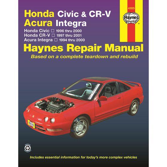 HONDA CIVIC & CR-V / ACURA INTEGRA HAYNES REPAIR MANUAL COVERING HONDA CIVIC (1996 THRU 2000), HONDA CR-V (1997 THRU 2001), AND ACURA INTEGRA (1994 THRU 2000), , scaau_hi-res
