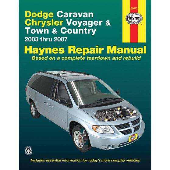DODGE CARAVAN, CHRYSLER VOYAGER AND TOWN AND COUNTRY HAYNES REPAIR MANUAL FOR 2003 THRU 2007 EXCLUDING INFORMATION ON ALL-WHEEL DRIVE OR DIESEL ENGINE MODELS, , scaau_hi-res