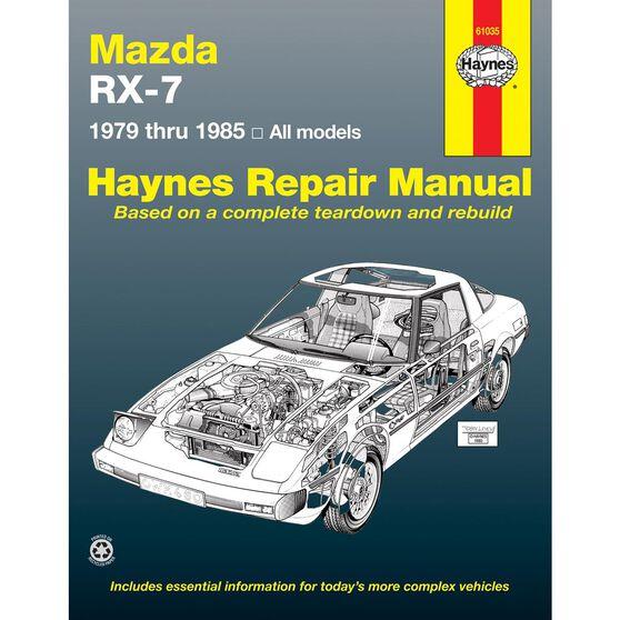 MAZDA RX-7 HAYNES REPAIR MANUAL COVERING ALL MAZDA RX-7, GS, GSL AND GSL-SE (1979 THRU 1985), , scaau_hi-res