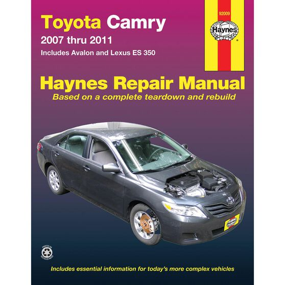TOYOTA CAMRY AND AVALON AND LEXUS ES 350 HAYNES REPAIR MANUAL FOR 2007 THRU 2011 (DOES NOT INCLUDE INFORMATION SPECIFIC TO HYBRID MODELS), , scaau_hi-res