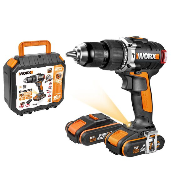 WORX 20V MAX 13MM CORDLESS BRUSHLESS HAMMER DRILL / DRIVER WITH 2X BATTERIES, CHARGER & CARRY CASE, , scaau_hi-res
