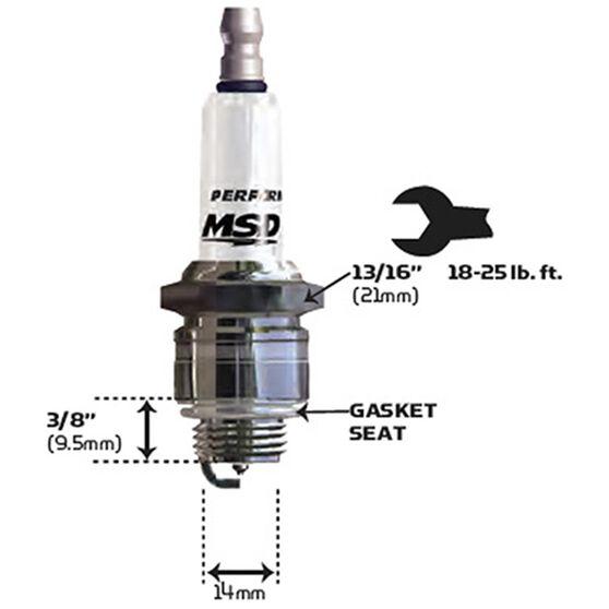 MSD SPARK PLUG, 15IR4 (EACH) 14MM X 3/8, 13/16 HEX, FLAT, , scaau_hi-res