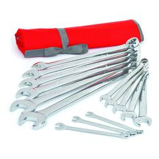 WRENCH SET COMBINATION ROLL SAE 14PC