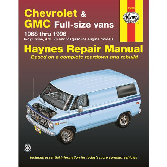 CHEVROLET AND GMC FULL-SIZE VANS HAYNES REPAIR MANUAL FOR 1968 THRU 1996 GASOLINE ENGINE MODELS. DOES NOT INCLUDE 454 ENGINE OR DIESEL ENGINE INFORMATION, OR 1996 EXPRESS AND SAVANA MODELS., , scaau_hi-res