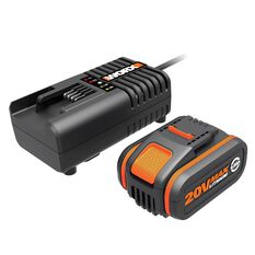WORX POWERSHARE 20V 4.0AH MAX LITHIUM-ION BATTERY & CHARGER KIT, , scaau_hi-res