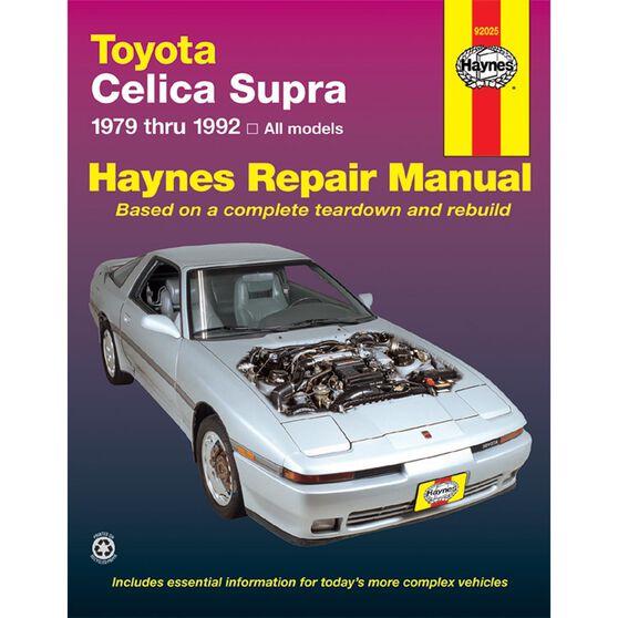 TOYOTA CELICA SUPRA HAYNES REPAIR MANUAL COVERING ALL 1979 THRU 1992 MODELS, , scaau_hi-res