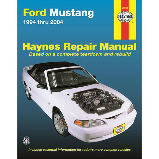 FORD MUSTANG HAYNES REPAIR MANUAL FOR 1994 THRU 2004 COVERING ALL MODELS (EXCEPT REAR SUSPENSION/DRIVEAXLES ON 1999 AND LATER COBRAS NOR INFORMATION ON THE 2003 AND 2004 COBRA MODELS), , scaau_hi-res