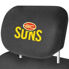 AFL CAR HEAD REST COVER - PAIR GOLD COAST SUNS, , scaau_hi-res