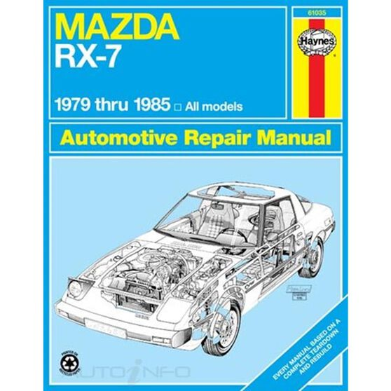 MAZDA RX-7 HAYNES REPAIR MANUAL COVERING ALL MAZDA RX-7, GS, GSL AND GSL-SE (1979 THRU 1985), , scaau_hi-res