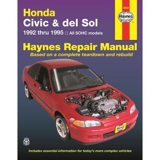 HONDA CIVIC AND DEL SOL HAYNES REPAIR MANUAL COVERING 1992 THRU 1995 MODELS, , scaau_hi-res
