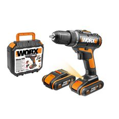 WORX 20V MAX 10MM CORDLESS DRILL / DRIVER KIT WITH 2X BATTERIES, CHARGER & CARRY CASE