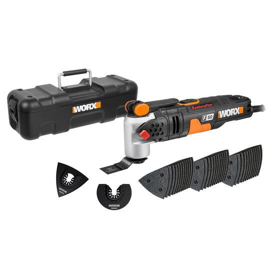WORX 450W SONICRAFTER MULTITOOL WITH HYPERLOCK TOOL FREE BLADE, UNIVERSAL INTERFACE, 39 PCE ACCESSORY KIT & UTILITY BOX, , scaau_hi-res