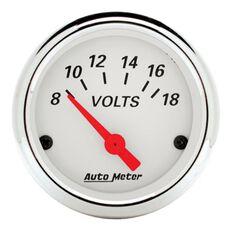ARCTIC WHITE 2-1/16 VOLTMETER 8-18 VOLTS, SHORT SWEEP ELECT.