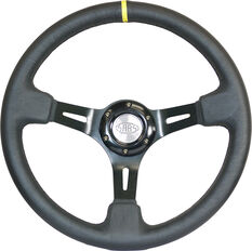 "Steering Wheel Leather 14"" D.Dish Black Slotted + Indicator, , scaau_hi-res"