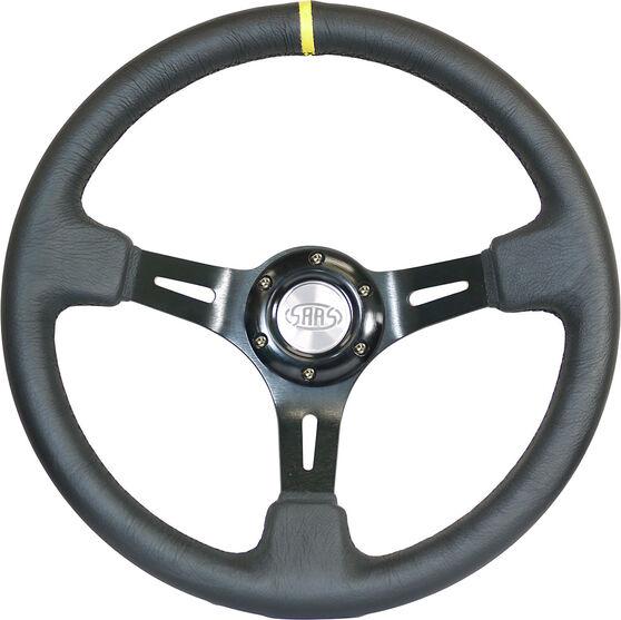 "Steering Wheel Leather 14"" D.Dish Black Slotted + Indicator, , scaau_hi-res"