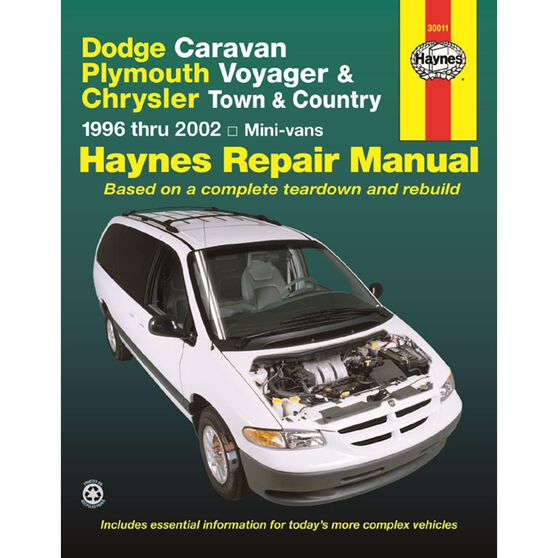 DODGE CARAVAN, PLYMOUTH VOYAGER & CHRYSLER TOWN AND COUNTRY HAYNES REPAIR MANUAL FOR 1996 THRU 2002 INCLUDING GRAND CARAVAN BUT EXCLUDING INFORMATION ON ALL-WHEEL DRIVE AND ALTERNATIVE FUEL MODELS, , scaau_hi-res