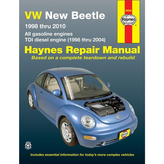 VW NEW BEETLE HAYNES REPAIR MANUAL FOR 1998 THRU 2010 COVERING 1.8 AND 2.0L GASOLINE ENGINES AND 1.9L TDI DIESEL ENGINE FOR 1998 THRU 2004 (DOES NOT INCLUDE INFORMATION SPECIFIC TO 2004 AND LATER MODELS WITH THE 1.9L TDI-PD DIESEL ENGINE), , scaau_hi-res