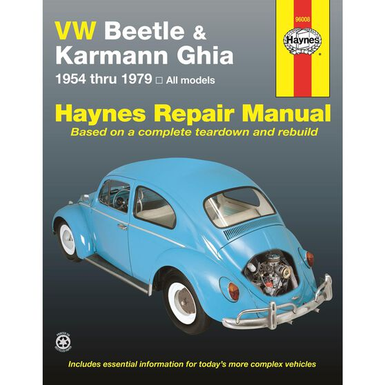 VW BEETLE & KARMANN GHIA HAYNES REPAIR MANUAL FOR 1954 THRU 1979, , scaau_hi-res