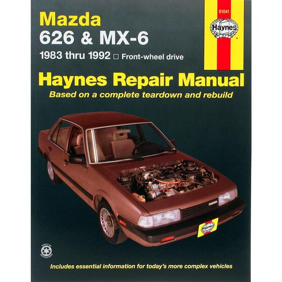 MAZDA 626 AND MX-6 HAYNES REPAIR MANUAL COVERING MAZDA 626 AND MX-6 FRONT-WHEEL DRIVE MODELS FOR 1983 THRU 1992 (EXCLUDES DIESEL), , scaau_hi-res