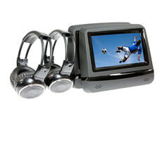 BLACK BACK SEAT HD MULTIMEDIA PLAYERS WITH INDIVIDUAL WIRELESS HEADPHONES