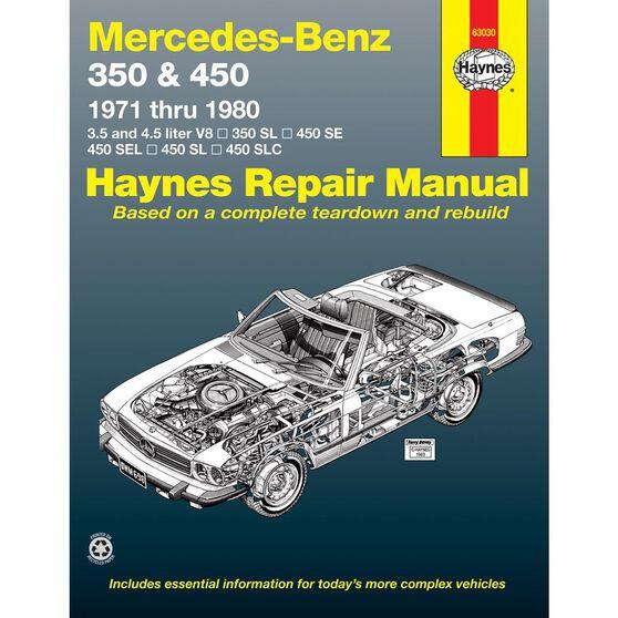 MERCEDES-BENZ 350 AND 450HAYNES REPAIR MANUAL COVERING 350 SL ROADSTER, 450 SL/SLC COUPE AND ROADSTER, 450 SE/SEL V8 SEDAN (1971 THRU 1980), , scaau_hi-res