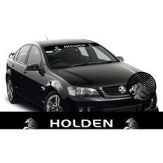 HOLDEN ITAG SEE-THRU SUN VISOR (WHITE HOLDEN ON BLACK WITH RONDEL WATERMARKS)