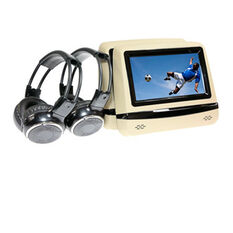 BEIGE BACK SEAT HD MULTIMEDIA PLAYERS WITH INDIVIDUAL WIRELESS HEADPHONES